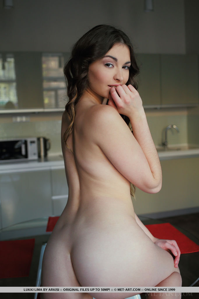 Lukki lima showcases her long sensual legs with porcelain skin pink and puffy nipples and round butt