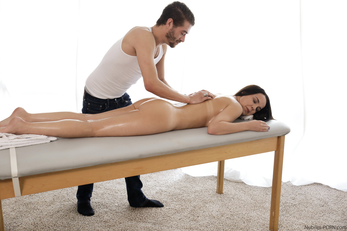 busty babe dillion harper gets an oily massage then has a slip and